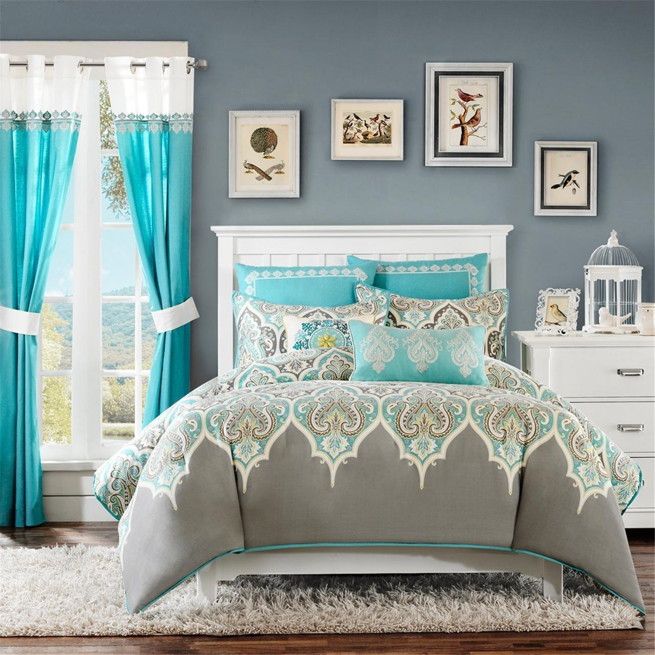 Perfect Better Homes And Garden Comforter Sets With Blue Grey Color On  Curtains Wall And White