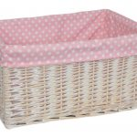 Pink And White Polcadot Design For Extra Large Storage Baskets