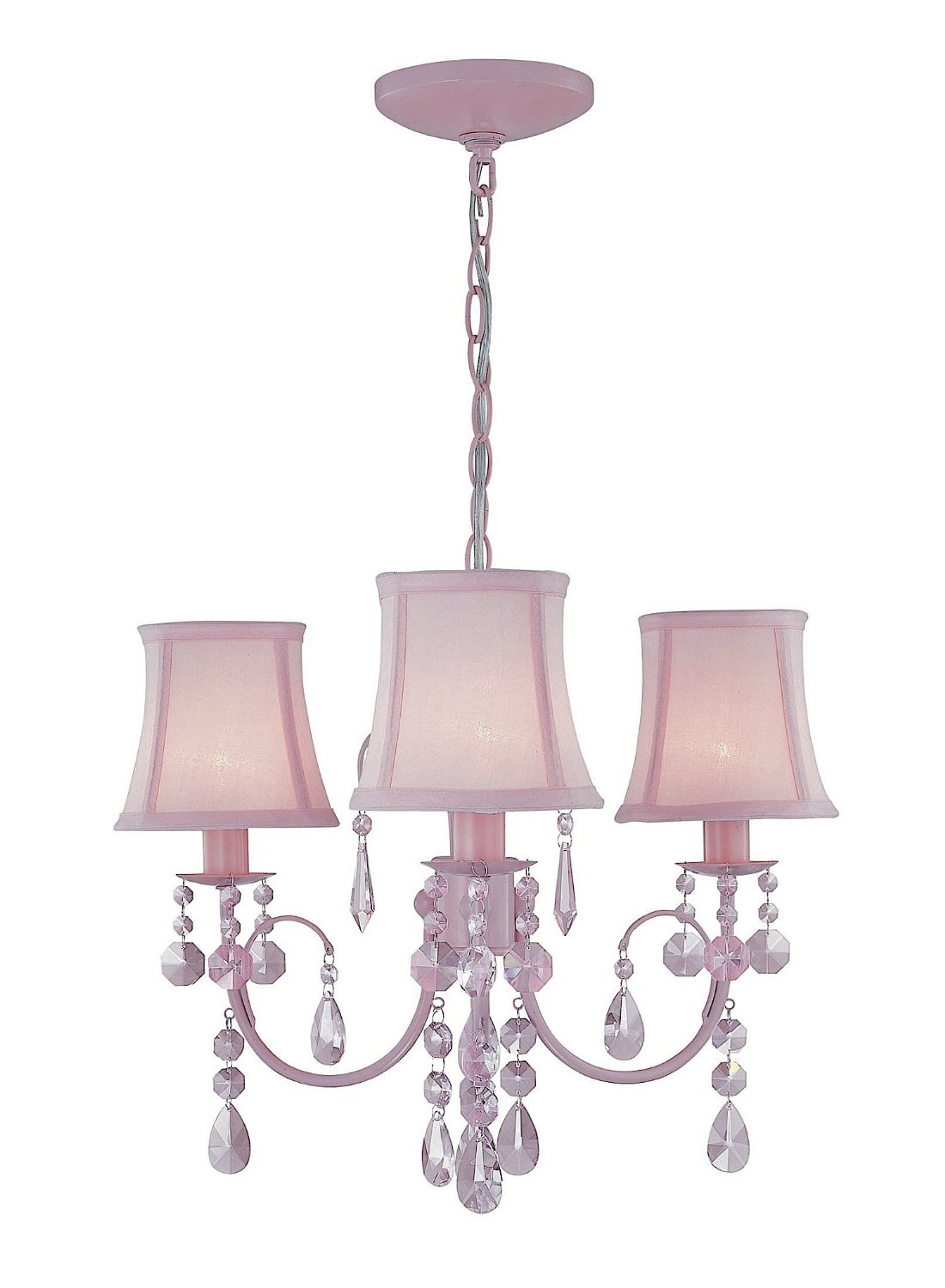 Pink Chandelier For Girls Room With Triple Lights
