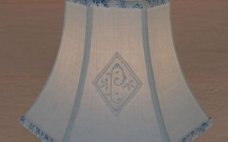 Pretty Blue Bell Shaped Lamp Shades With Side Patterned