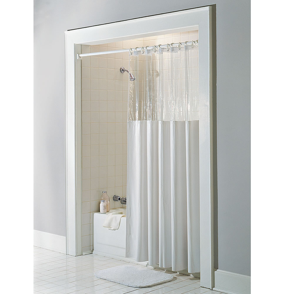 pretty clear shower curtain with design and bath nook