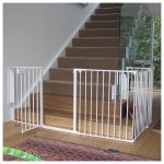 Pretty White Child Safety Gates For Stairs With Stylish Rug