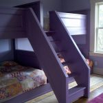 Purple Quadruple Bunk Beds With Purple Rug For Kid