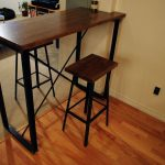 Rectangular And Small Industrial Pub Table With Rectangular Double Chairs At Room Side