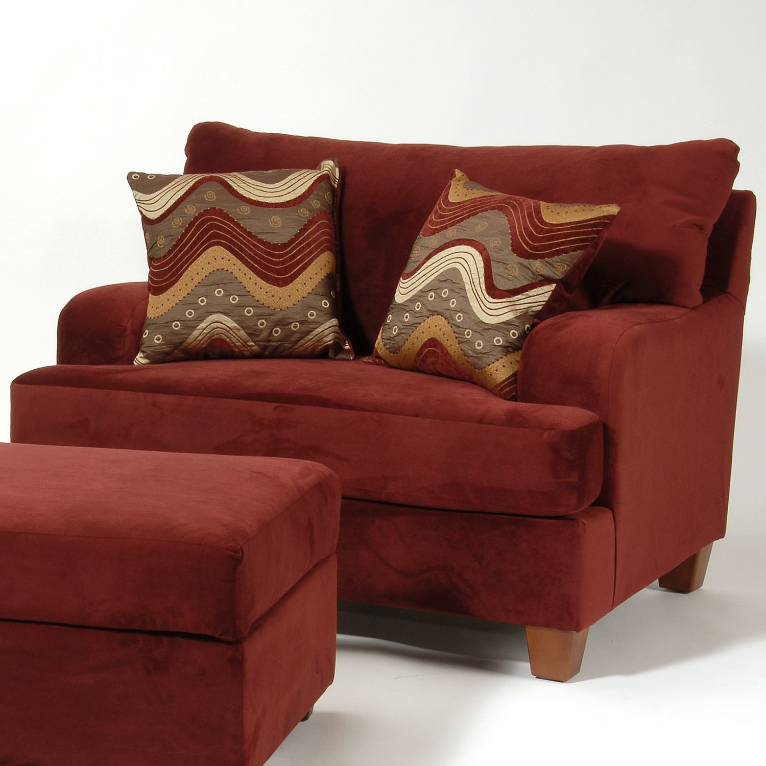 red chairs with ottomans for living room and double stylish pillows