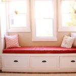 Red Cushions For Window Seats With Patterned Pillows And Cabinet Set