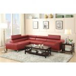 Red Leather Poundex Bobkona Modular Sectional With Wooden Coffee Table And Fur Rug