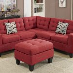 Red Poundex Bobkona Modular Sectional With Ottoman And Dotted Pillows