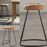 Retro Vintage Metal Bar Stools With Wooden Top