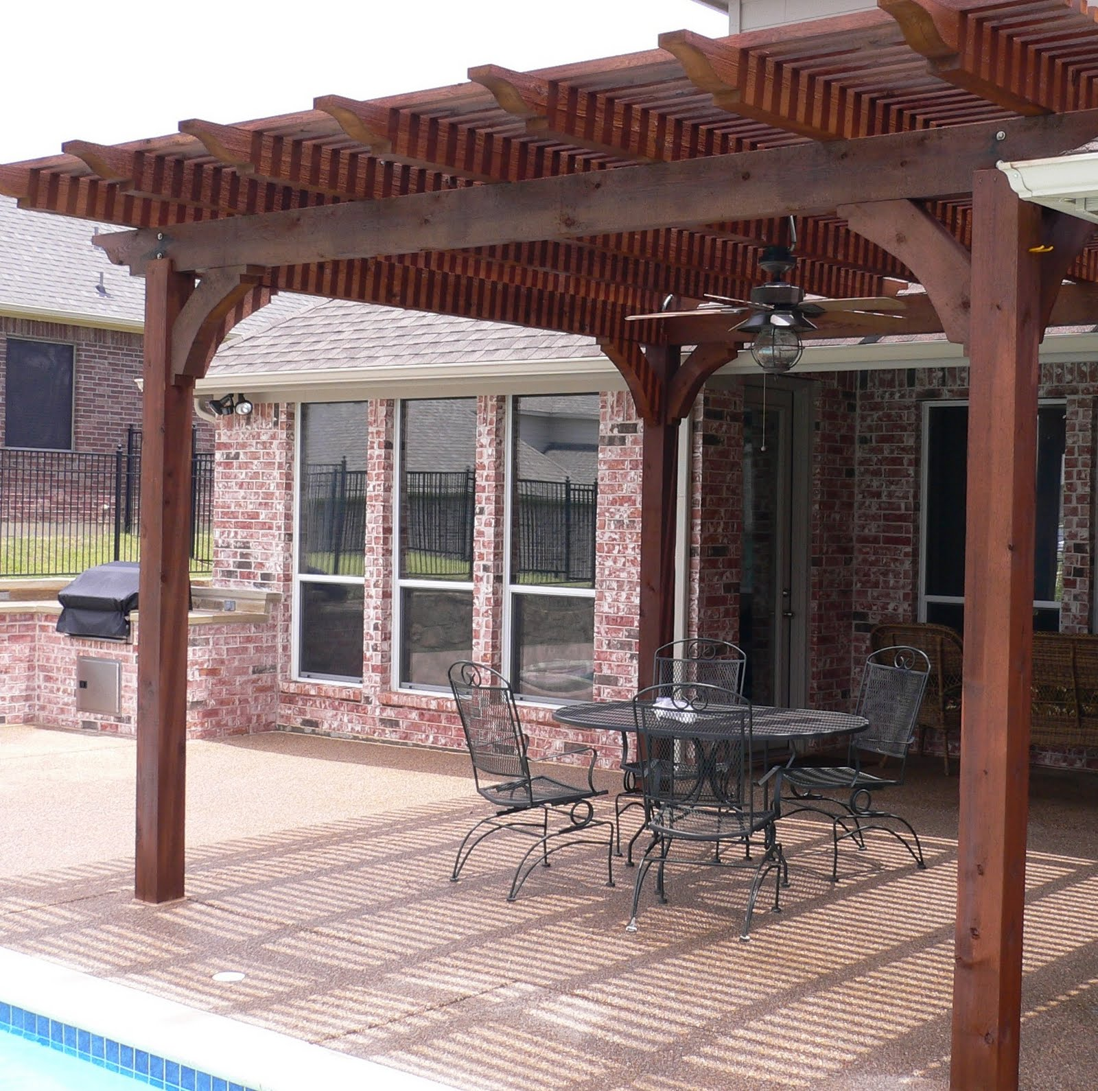 Great Roof Wood Patio Cover Design Near Swimming Pool