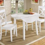 Round White Painted Wooden And Two Chairs Square Rug Stylish Wallpaper On Wall With Frames