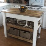 Rustic Design Of Wooden Stand Alone Kitchen Islands With Double Racks And Baskets