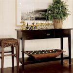 Seagrass Counter Stools With Dark Wooden Narrow Table With Bottom Rack For Wine