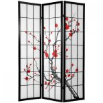Shoji Screen Ikea With Florist Design On Screen
