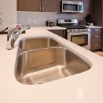 Simple Modern Best Material For Kitchen Sink On White Kitchen Island