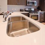 Simple Modern Best Material For Kitchen Sink On White Kitchen Island