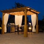 Simple Rectangular Gazebo With Curtains And Outdoor Furniture