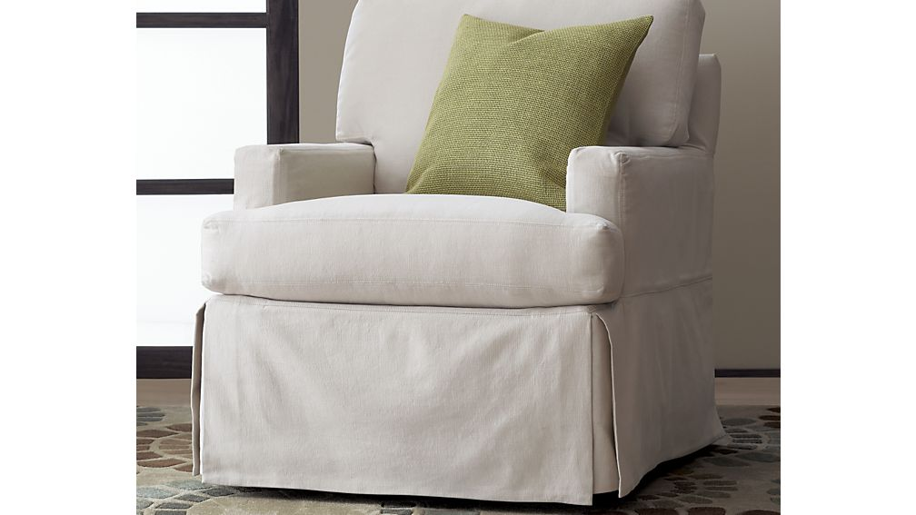 Superieur Simple White Barrel Chair Slipcovers With Green Pillow