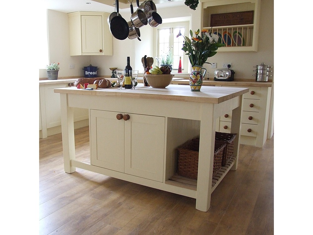 Simple White Stand Alone Kitchen Islands With Double Racks For Baskets And Doors