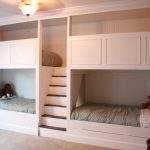 Simple White Wall Quadruple Bunk Beds With Grey Cabinet