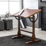 Simple Wooden Drafting Table In Grey Room With Best Rug And Cabinets