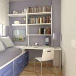 Small Bedroom Desks For Small Bedroom With Purple Color Theme And Bookshelves
