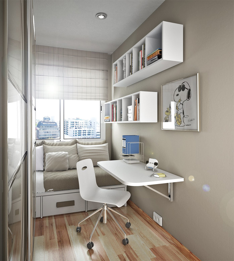 small desk for bedroom. Small Bedroom Desks Under The Shelves In Grey Simple  HomesFeed