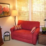 Small Loveseat For Bedroom With Floor Lamp And Red Sofa