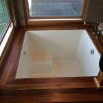 Small White Squared Japanese Soaking Tub Kohler With Wooden Frame