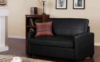 Sofa Black Single Sleeper Chair With Pillow