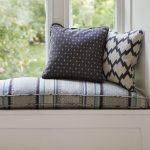 Stripped Patterned Cushions For Window Seats With Double Pillows