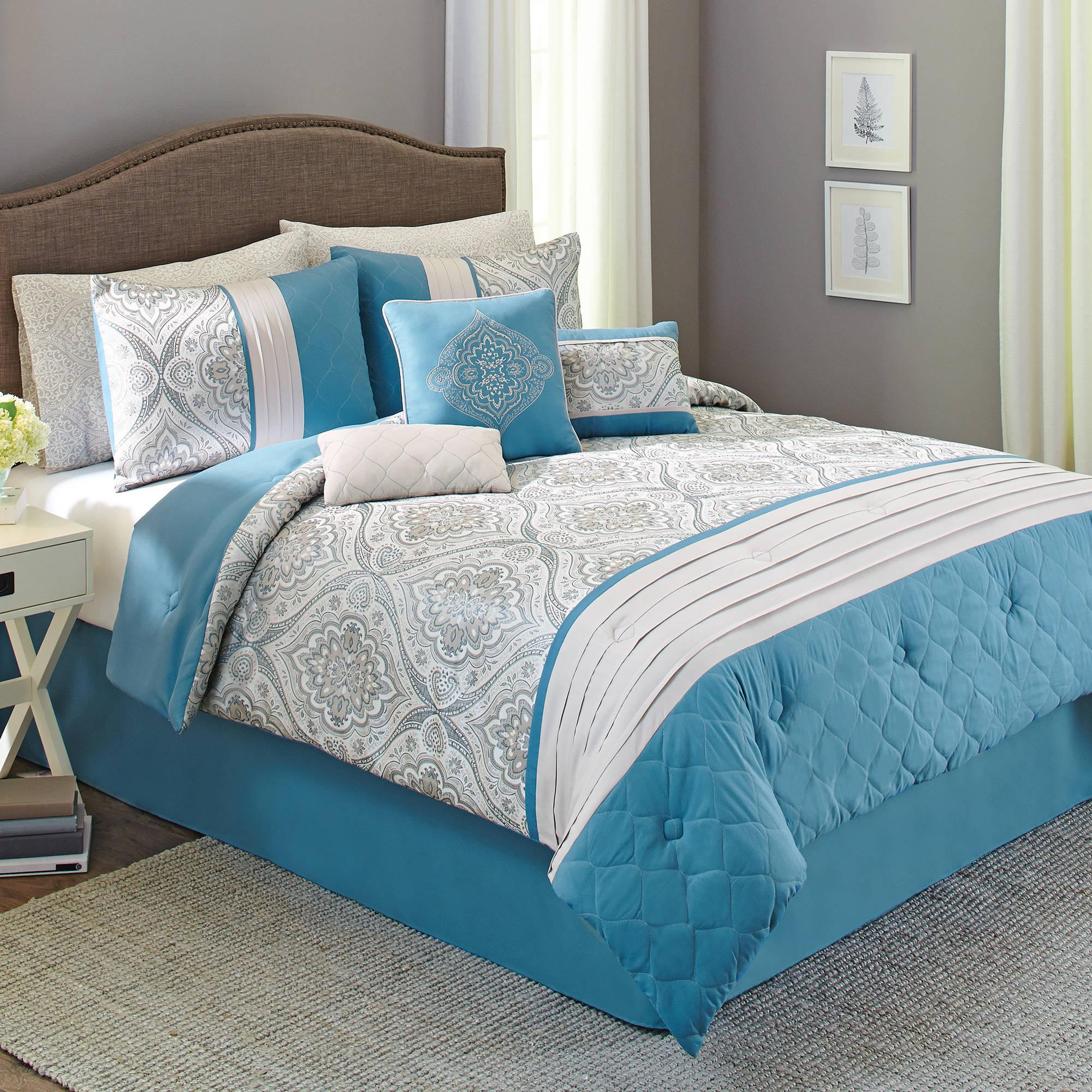 Merveilleux Stylish White Blue Better Homes And Garden Comforter Sets With Grey Rug And  Wall
