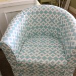 Stylish White Turquoise Patterned Barrel Chair Slipcovers