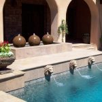 Swimming Pool Fountain Heads With Flowers Pot