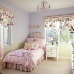 Teenage Room With Pink Chandelier For Girls Room Pink Bedding Floral Curtains And White Cabinet