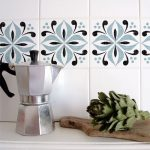 Tile Sticker On White Backsplash Of KItchen