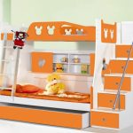 Toddler Bunk Beds With Stairs And Orange White Design Color Plus Storage Places