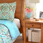 Turquoise Pattern Better Homes and Garden Comforter Sets On Bed With Wooden Bed Frame Side Table And Floor