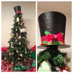Unique Christmas Tree Toppers With Black Hat And Red Ribbon