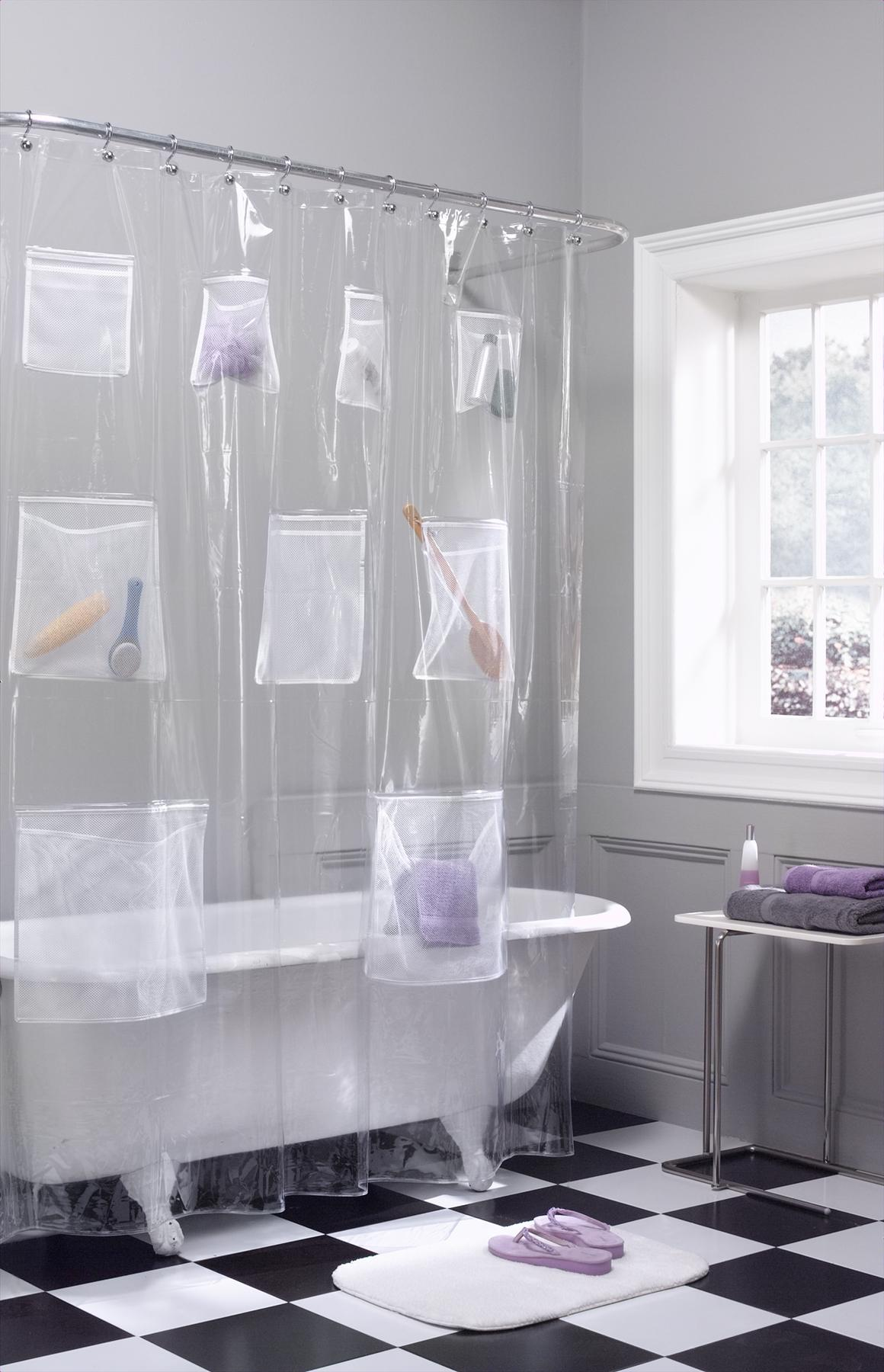 Unique Clear Shower Curtain With Design And Pocket Plus White Tub
