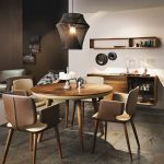 Unique Pendant Light With Round Ikea Stockholm Dining Table And Wall Mounted Cabinet