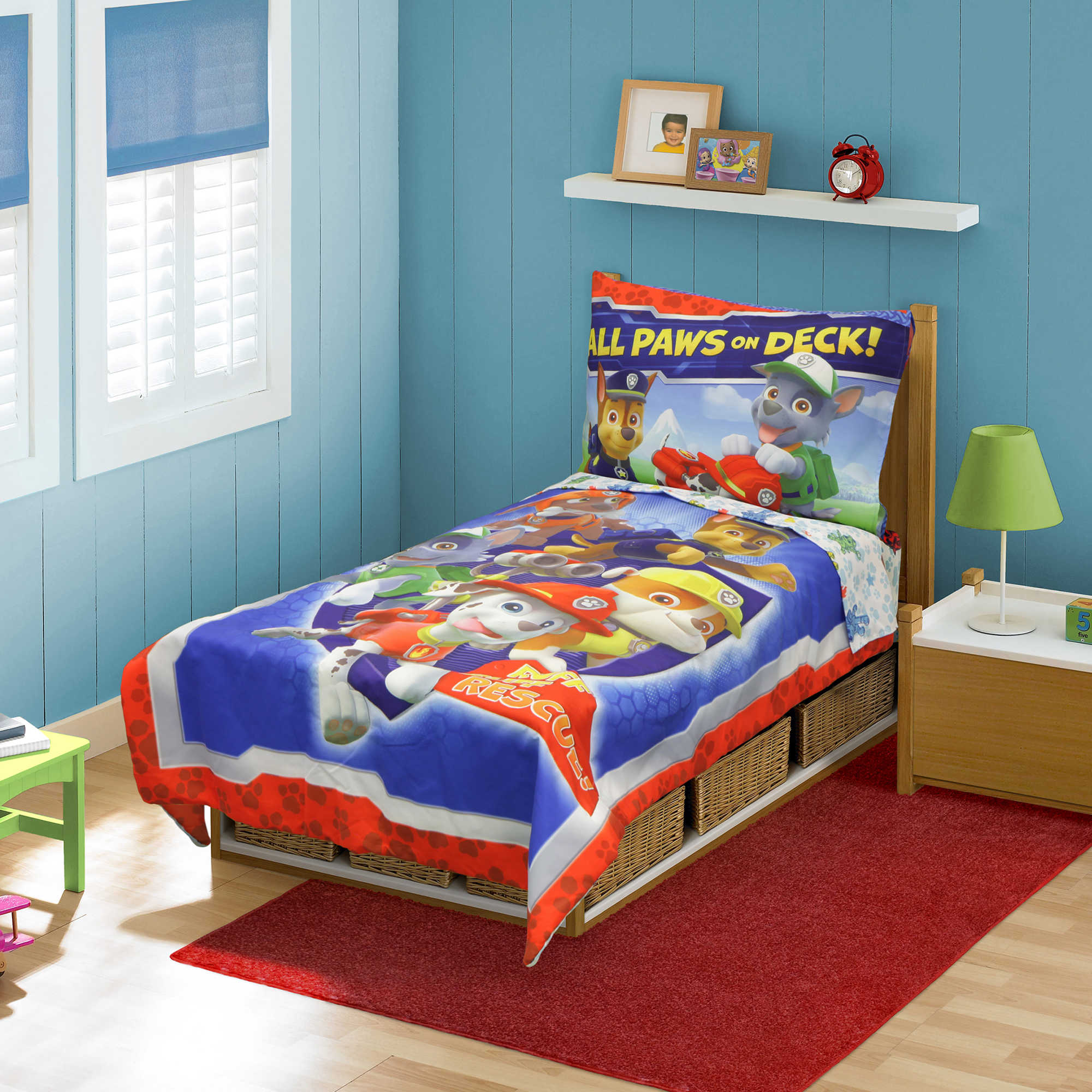 Unique Superhero Bedding Sets With Side Table And Red Rug