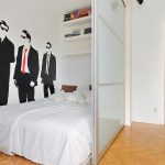 Wall Partitions Ikea For Bedroom With White Bed And Wall Shelves