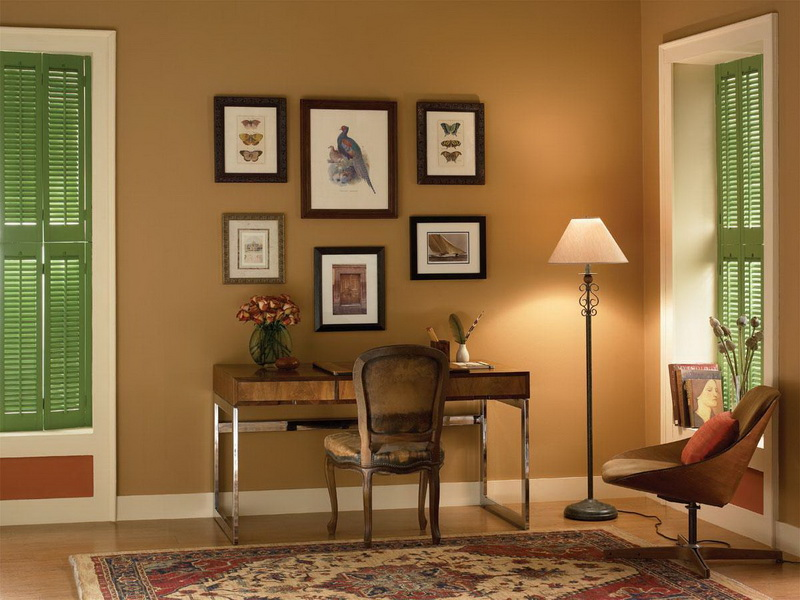 Merveilleux Warm Top Rated Interior Paint For Home Office With Wooden Desk Chair And  Floor Lamp