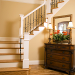 Welcoming Top Rated Interior Paint With Stairs And Rustic Cabinet