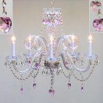White And Pink Chandelier For Girls Room With Lights