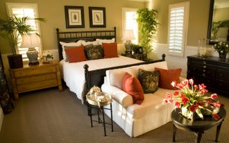 White Bedding And Sofa Of Small Loveseat For Bedroom With Wooden Cabinet And Round Coffee Table