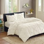 White Better Homes and Garden Comforter Sets On Dark Wooden Bed Frame With White Curtains And Fur Rug