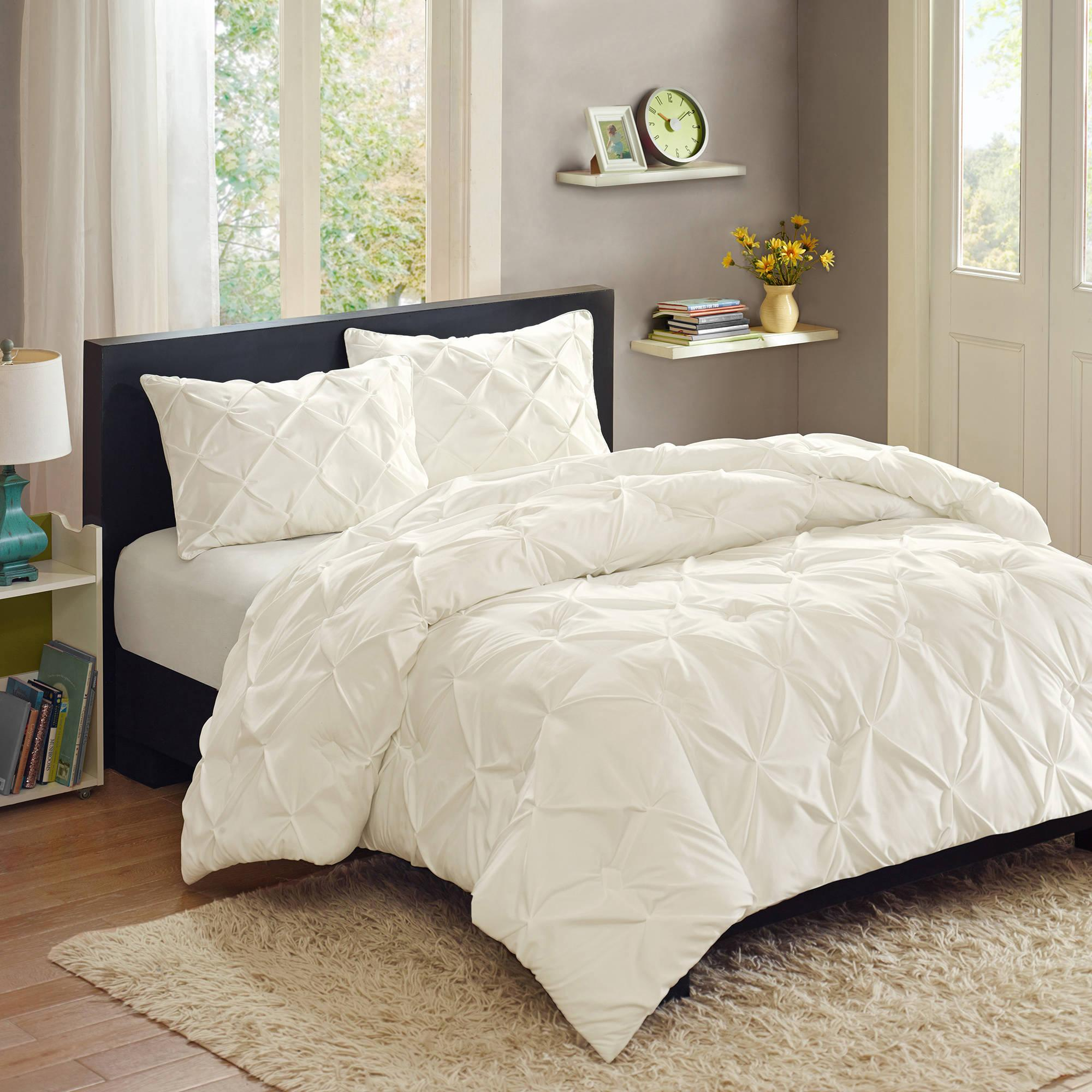 White Better Homes And Garden Comforter Sets On Dark Wooden Bed Frame With  White Curtains And