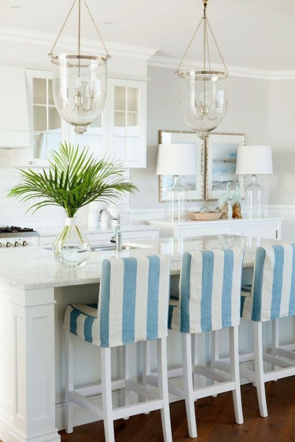 White Blue Design Of Bar Stool Slipcovers With Double Glass Chandelier And White Kitchen Cabinet Set & Bar Stool Slipcovers | HomesFeed islam-shia.org